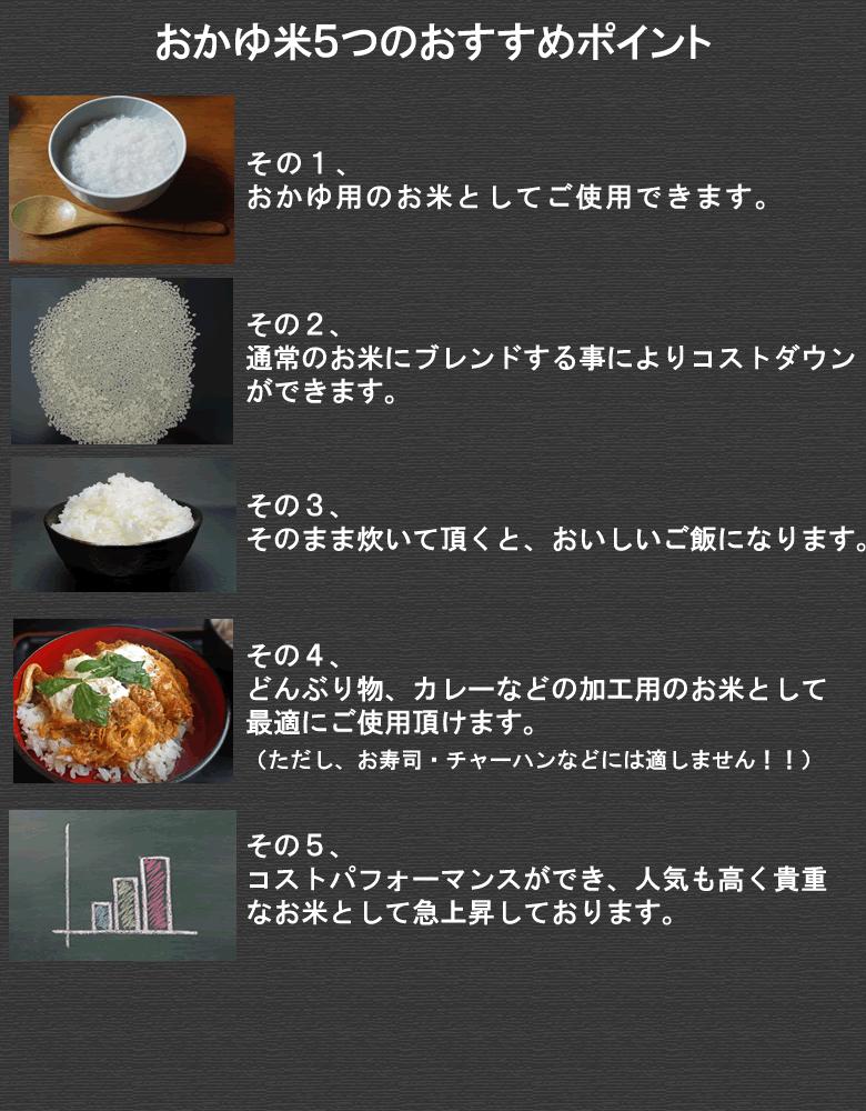 ①おかゆ用のお米としてご使用できます。 ②通常のお米にプレン度する事によりコストダウンができます。 ③そのまま炊いて頂くと、おいしいご飯になります。 ④どんぶり物、カレーなどの加工用のお米として最適にご使用頂けます。(ただし、お寿司・チャーハンなどには適しません!!) ⑤コストパフォーマンスができ、人気も高く貴重なお米として急上昇しております。